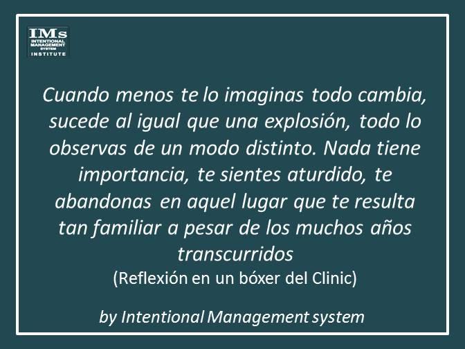 Reflexión en un boxér del Clinic (Barcelona)